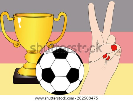 He won Germany - Illustration depicting the joy of a supporter for the cup won in a football tournament for nations - stock vector