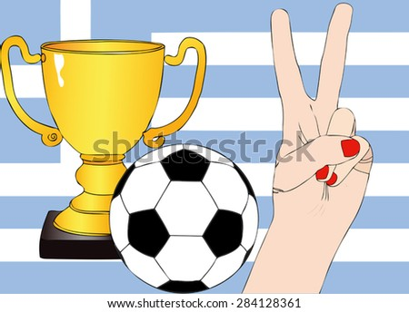 He won the Greece - Illustration depicting the joy of a supporter for the cup won in a football tournament for nations - stock vector