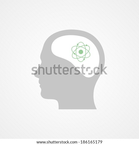 Head and atom icon - stock vector