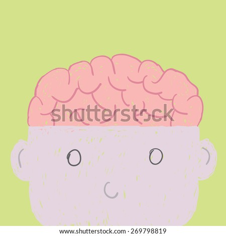 Head and brain cartoon vector drawing, show brain in thinking concept. - stock vector
