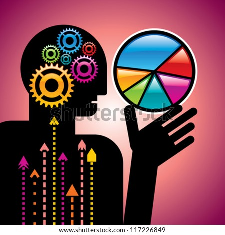 head and brain gears in progress and bar graph in hand - stock vector