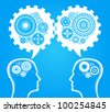Head and brain gears in progress. concept of human thinking and teamwork - stock photo