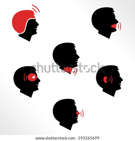 Head and facial pain as flat icons / Solid fill icons in EPS 8 format - stock vector