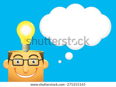head and lamp, vector - stock vector