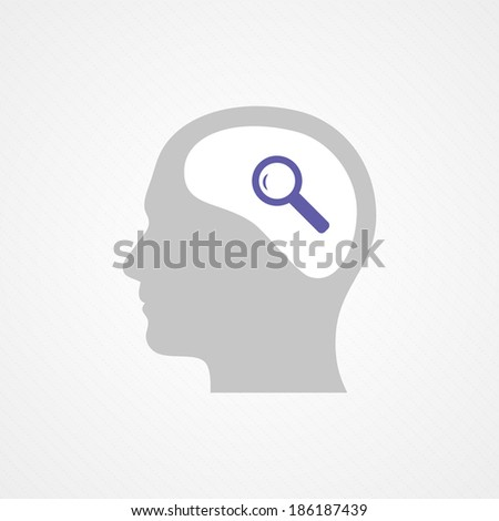 Head and magnifying glass - stock vector