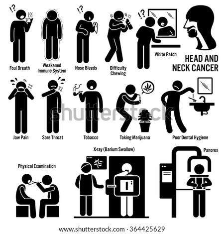 Head and Neck Cancer Symptoms Causes Risk Factors Diagnosis Stick Figure Pictogram Icons - stock vector