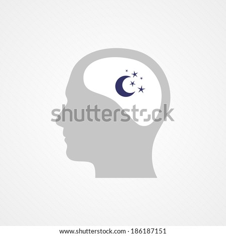Head and night - stock vector