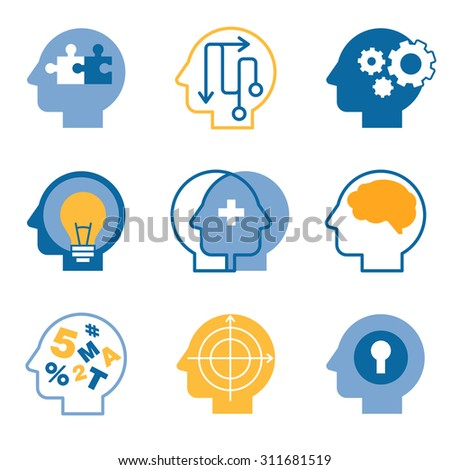Head brain, mind process vector icons set - stock vector