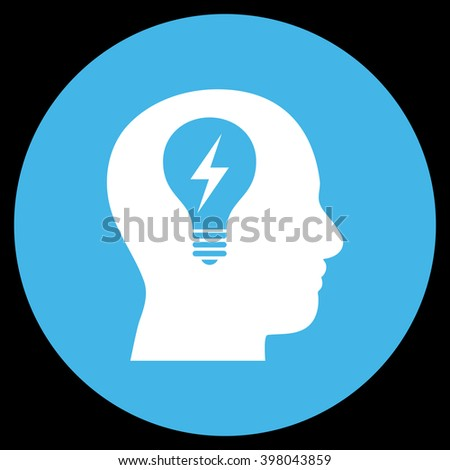 Head Bulb vector icon. Image style is a flat icon symbol on a round button, blue and white colors, black background. - stock vector