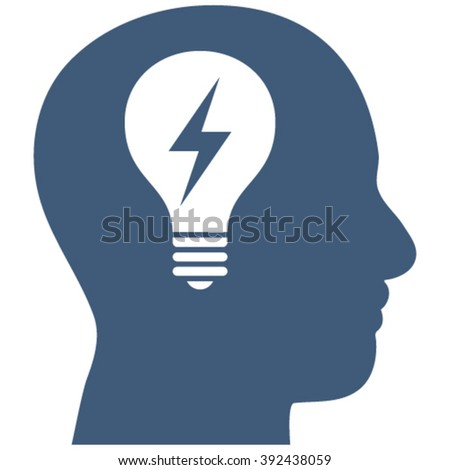 Head Bulb vector icon. Image style is flat head bulb pictogram drawn with blue color on a white background. - stock vector