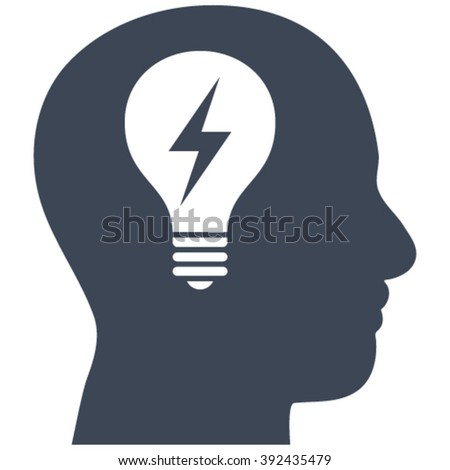 Head Bulb vector icon. Image style is flat head bulb pictogram drawn with smooth blue color on a white background. - stock vector