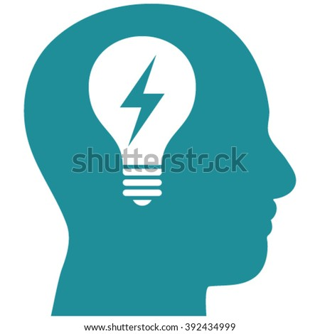 Head Bulb vector icon. Image style is flat head bulb pictogram drawn with soft blue color on a white background. - stock vector