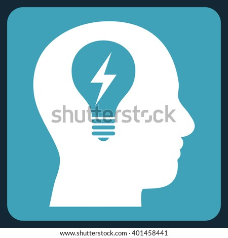 Head Bulb vector pictogram. Image style is bicolor flat head bulb pictogram symbol drawn on a rounded square with blue and white colors. - stock vector