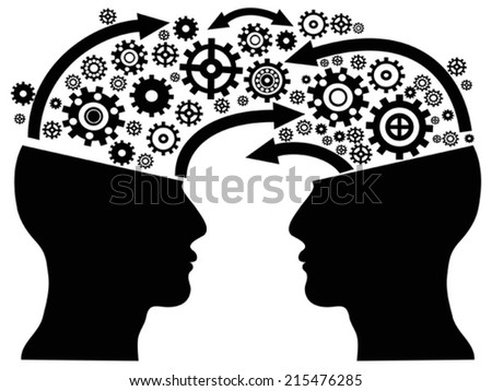 head communication with gears - stock vector