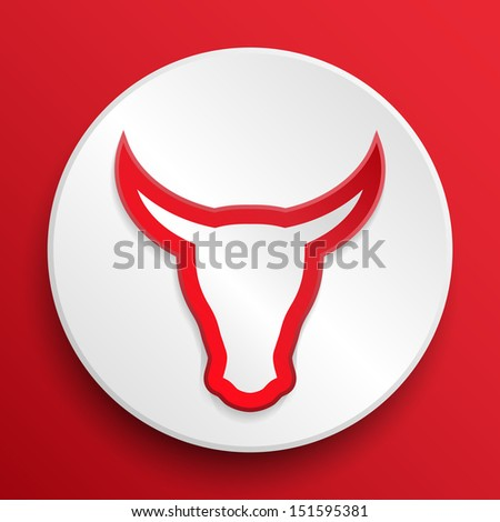 Head cow button symbol on a white icon. Vector illustration, editable and isolated. EPS10. - stock vector