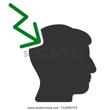 Head Electric Strike vector icon. Style is flat graphic bicolor symbol, green and gray colors, white background.