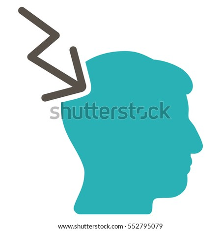 Head Electric Strike vector pictogram. Style is flat graphic bicolor symbol, grey and cyan colors, white background.