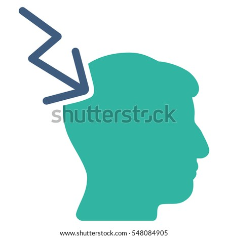 Head Electric Strike vector pictograph. Style is flat graphic bicolor symbol, cobalt and cyan colors, white background.