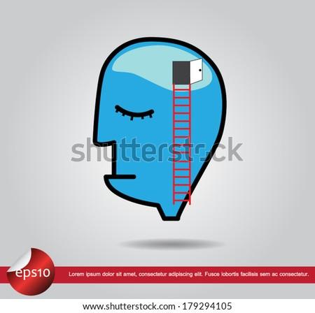 head human brain  door vector icon - stock vector