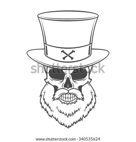 Head Hunter Skull Beard Hat Vector Stock Vector 340535624 ...