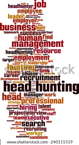 Head hunting word cloud concept. Vector illustration - stock vector