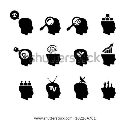 Head icons - stock vector