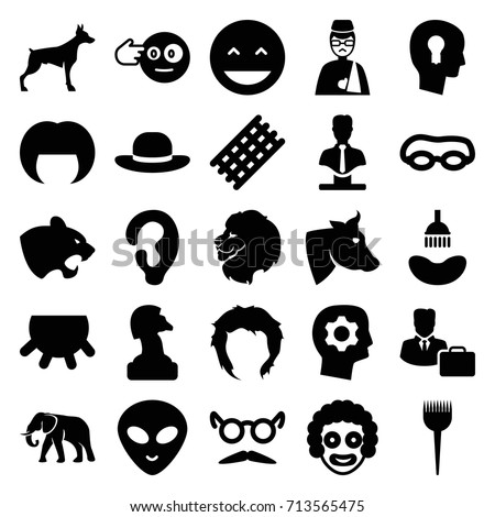 Head icons set. set of 25 head filled icons such as udder, lion, cow, dog, panther, elephant, ear, barber brush, shower, hair curler, woman hairstyle, hairstyle, woman hat