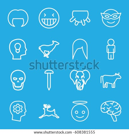 Head icons set. set of 16 head outline icons such as antelope, deer, elephant, cow, udder, woman hairstyle, nail, brain, skull, laughing emot, emoji in mask, emoji angel
