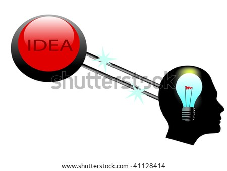 head idea button - stock vector