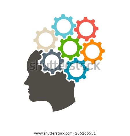 Head in gears. Mindfulness concept