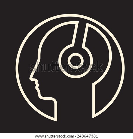 head in headphones - personal music  bubble- linear icon - stock vector