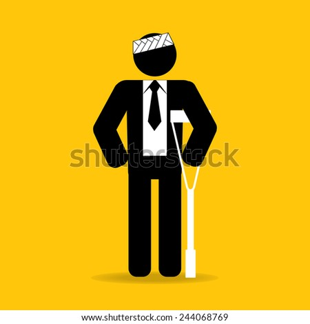 head injured cartoon businessman in bandage with crutches : be careful prevent accidents : safety health concept on yellow background vector - stock vector