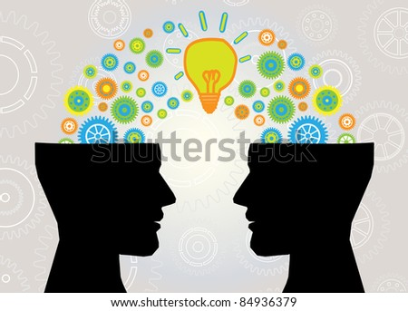 head lamp and gear communication - stock vector