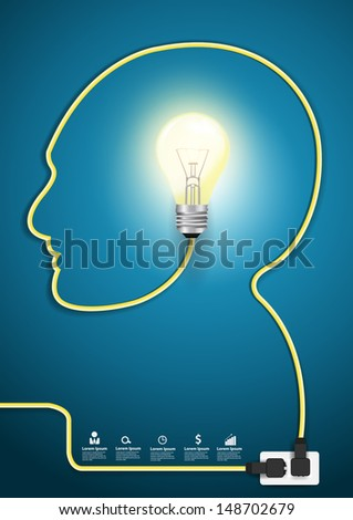Head line with light bulb modern design template workflow layout, Vector illustration template design   - stock vector