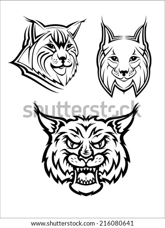 Head logo of a wild bobcat or lynx for mas?ot or wildlife design, isolated on white background - stock vector