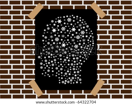 head made of snowflakes banner - stock vector