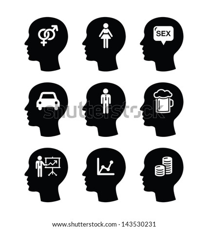 Head, man thoughts vector icons set - stock vector