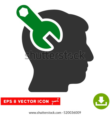 Head Neurology Wrench EPS vector icon. Illustration style is flat iconic bicolor green and gray symbol on white background.