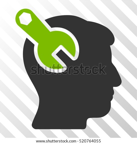 Head Neurology Wrench vector icon. Illustration style is flat iconic bicolor eco green and gray symbol on a hatched transparent background.