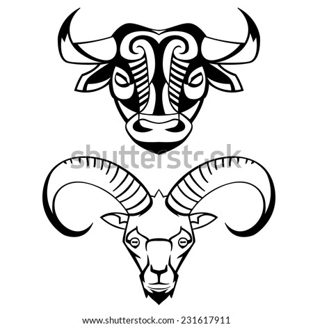 head of a bull and the goat - vector black and white can be used for logos and mascots tattoos - stock vector