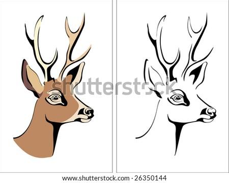 head of a deer vector portrait animal antler beauty - stock vector