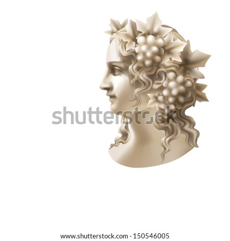 Head of a Girl in a wreath of vine on a white background - stock vector