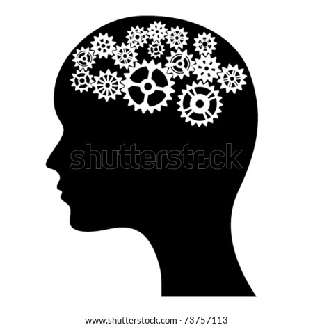 Head of a man with gears inside. - stock vector