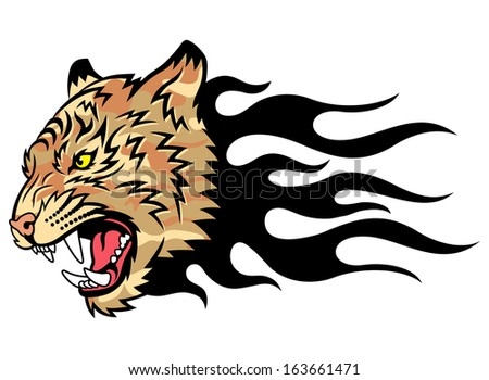 Head of a tiger in tongues of flame in the form of a tattoo. Tiger anger. This is vector illustration ideal for a mascot and tattoo or T-shirt graphic. - stock vector