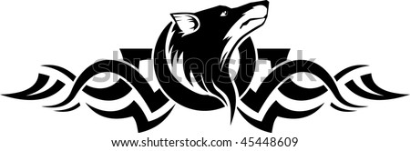 Head of a wolf with tribal an ornament. The Black-and-white vector illustration. - stock vector