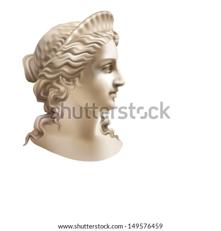 Head of a woman wearing a crown in a classic style on a white background - stock vector