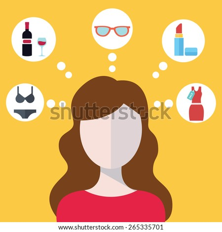 Head of a young modern woman and her thoughts, shopping concept - stock vector