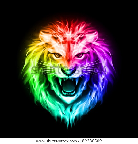 Head of aggressive fire lion in spectrum  on black background - stock vector