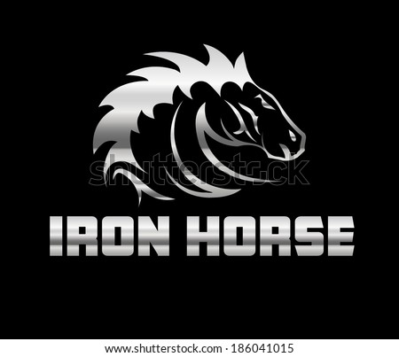 head of agreesive iron horse - stock vector