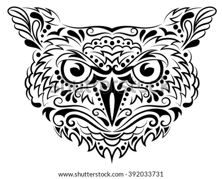 Head of an owl in tattoo style. - stock vector